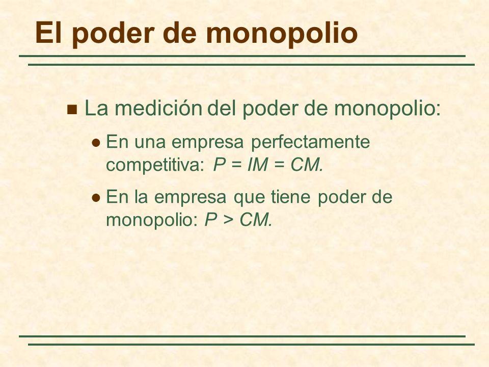 La medición del poder de monopolio: En una empresa perfectamente competitiva: P = IM = CM. En la empresa que tiene poder de monopolio: P > CM. El pode