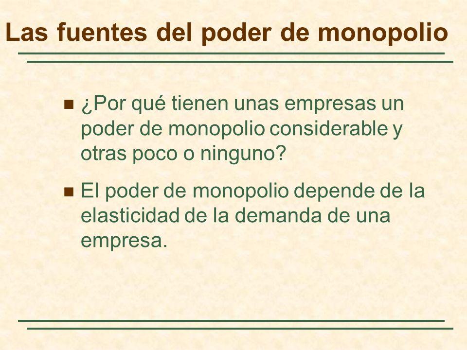Las fuentes del poder de monopolio ¿Por qué tienen unas empresas un poder de monopolio considerable y otras poco o ninguno? El poder de monopolio depe