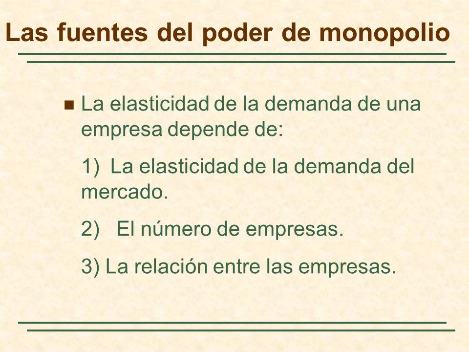 La elasticidad de la demanda de una empresa depende de: 1)La elasticidad de la demanda del mercado. 2) El número de empresas. 3) La relación entre las