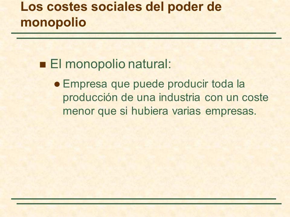 El monopolio natural: Empresa que puede producir toda la producción de una industria con un coste menor que si hubiera varias empresas. Los costes soc