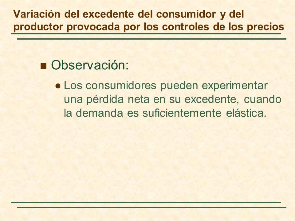 Observación: Los consumidores pueden experimentar una pérdida neta en su excedente, cuando la demanda es suficientemente elástica. Variación del exced