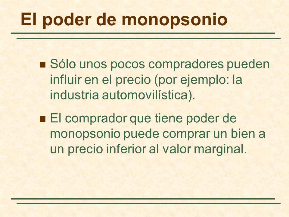 El poder de monopsonio Sólo unos pocos compradores pueden influir en el precio (por ejemplo: la industria automovilística). El comprador que tiene pod
