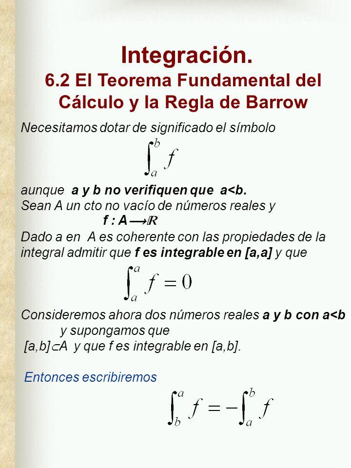 Página 2 6.2 T.F.CÁLCULO y Regla de BARROW La aditividad de la integral respecto del intervalo de integración puede generalizarse: Sean a, b y c son números reales a:=Min {a,b,c} y :=Max{a,b,c} y consideremos f:A tal que [, ] A.