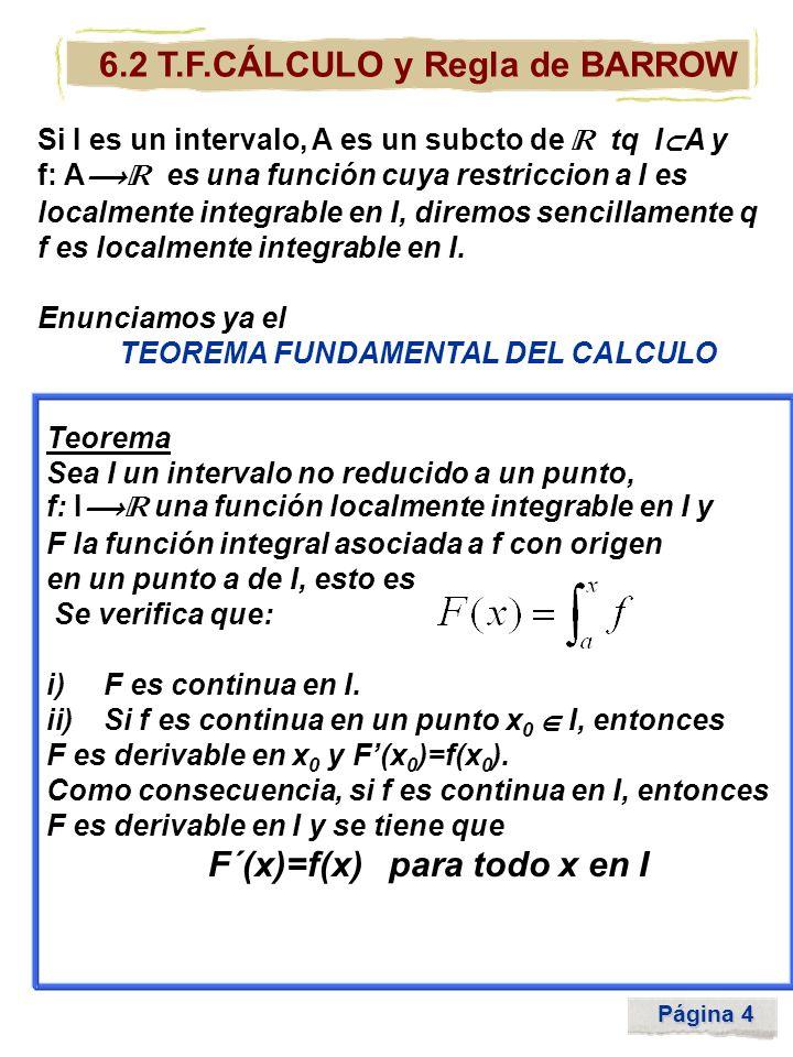 Página 5 6.2 T.F.CÁLCULO y Regla de BARROW Como consecuencia, tenemos que toda función continua en un intervalo (no reducido a un punto) es la función derivada de otra.