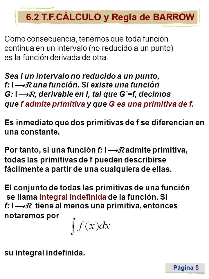 Página 5 6.2 T.F.CÁLCULO y Regla de BARROW Como consecuencia, tenemos que toda función continua en un intervalo (no reducido a un punto) es la función
