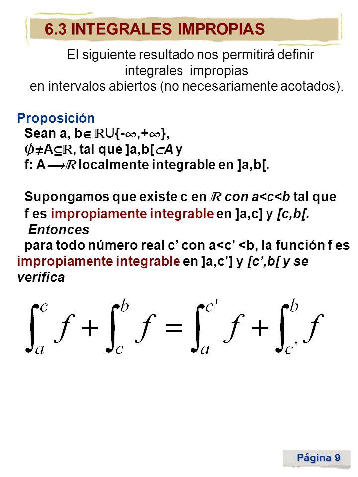 Página 9 6.3 INTEGRALES IMPROPIAS El siguiente resultado nos permitirá definir integrales impropias en intervalos abiertos (no necesariamente acotados