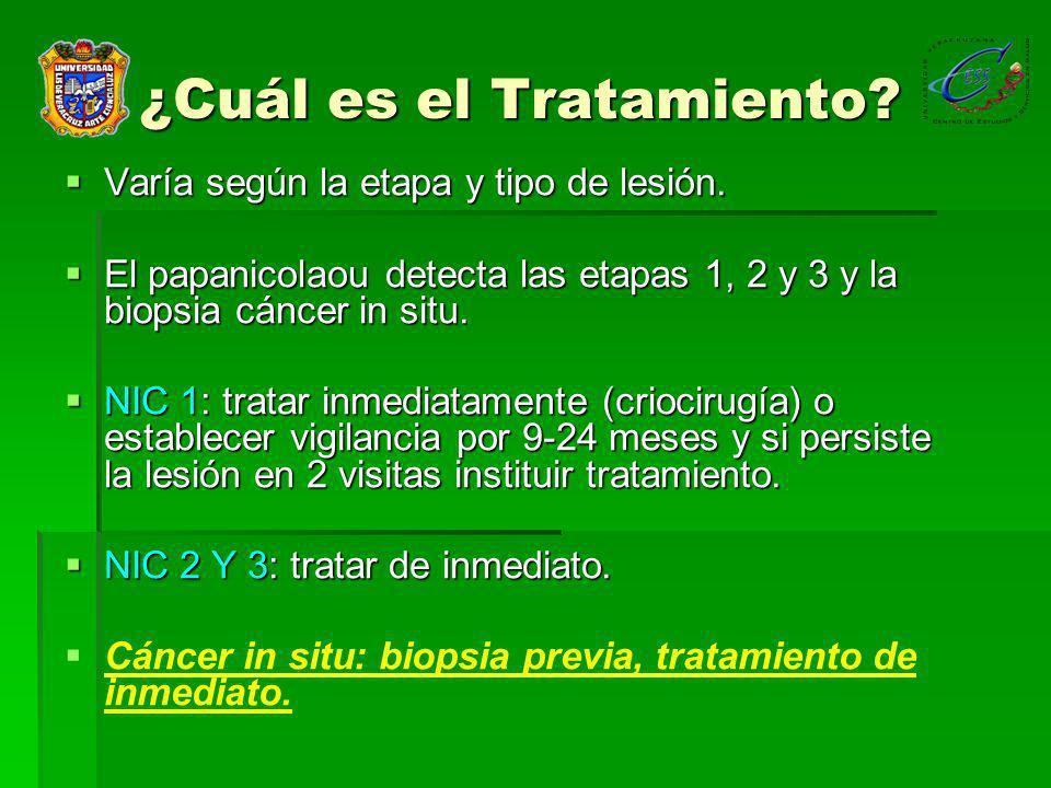 ¿Cuál es el Tratamiento.Varía según la etapa y tipo de lesión.