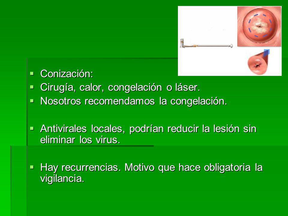 Conización: Conización: Cirugía, calor, congelación o láser.