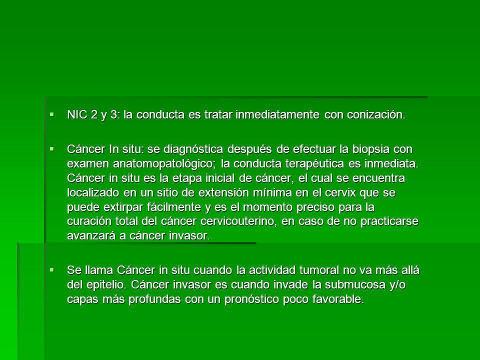 NIC 2 y 3: la conducta es tratar inmediatamente con conización.