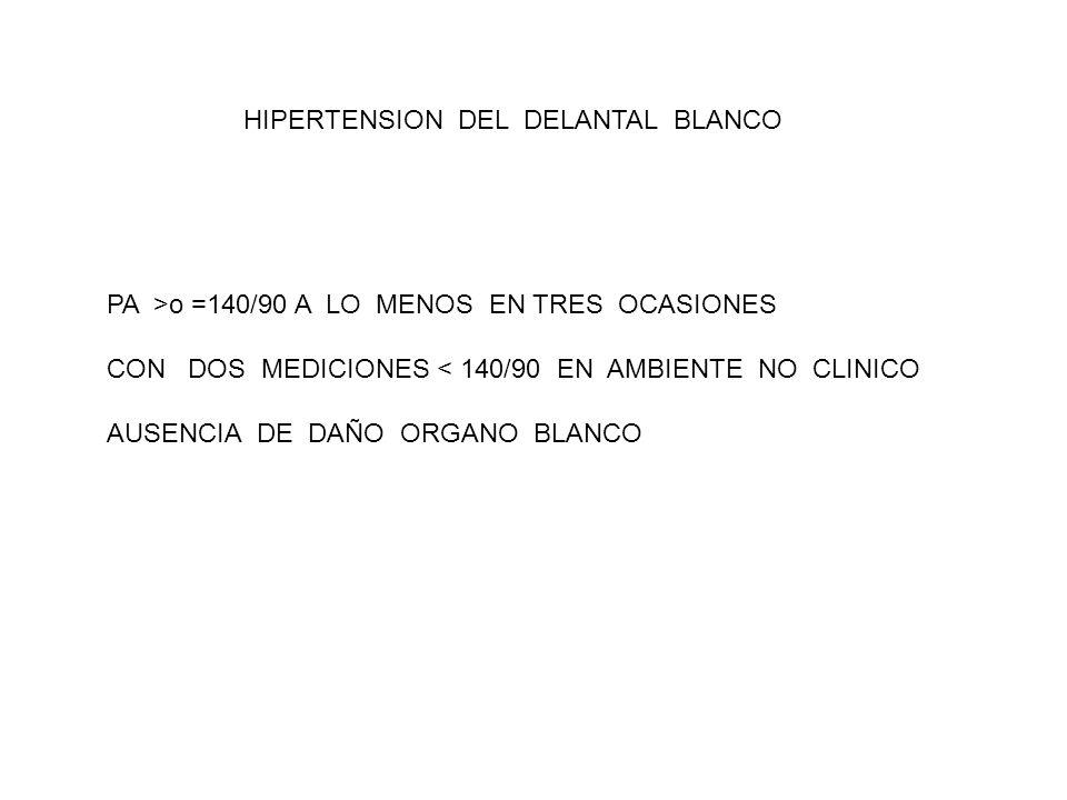 HIPERTENSION DEL DELANTAL BLANCO PA >o =140/90 A LO MENOS EN TRES OCASIONES CON DOS MEDICIONES < 140/90 EN AMBIENTE NO CLINICO AUSENCIA DE DAÑO ORGANO