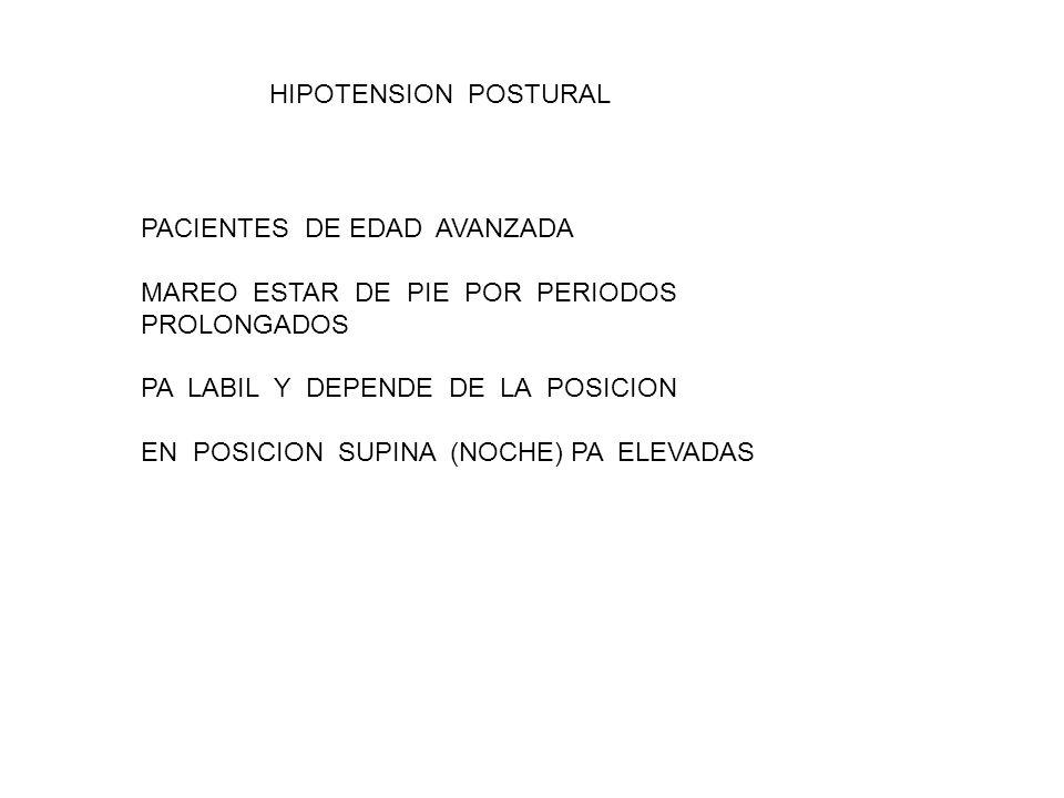 HIPOTENSION POSTURAL PACIENTES DE EDAD AVANZADA MAREO ESTAR DE PIE POR PERIODOS PROLONGADOS PA LABIL Y DEPENDE DE LA POSICION EN POSICION SUPINA (NOCHE) PA ELEVADAS