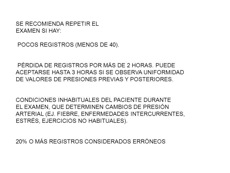 SE RECOMIENDA REPETIR EL EXAMEN SI HAY: POCOS REGISTROS (MENOS DE 40).