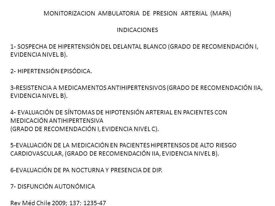 MONITORIZACION AMBULATORIA DE PRESION ARTERIAL (MAPA) INDICACIONES 1- SOSPECHA DE HIPERTENSIÓN DEL DELANTAL BLANCO (GRADO DE RECOMENDACIÓN I, EVIDENCIA NIVEL B).
