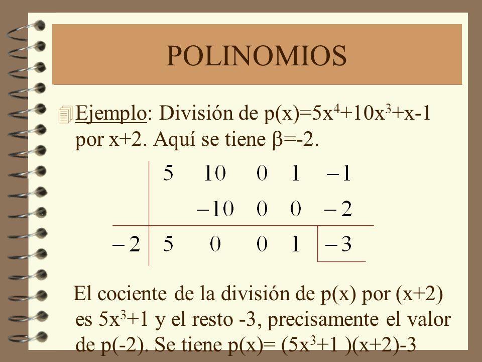 POLINOMIOS Ejemplo: División de p(x)=5x 4 +10x 3 +x-1 por x+2. Aquí se tiene =-2. El cociente de la división de p(x) por (x+2) es 5x 3 +1 y el resto -