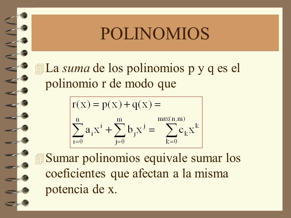 POLINOMIOS 4 La suma de los polinomios p y q es el polinomio r de modo que 4 Sumar polinomios equivale sumar los coeficientes que afectan a la misma potencia de x.