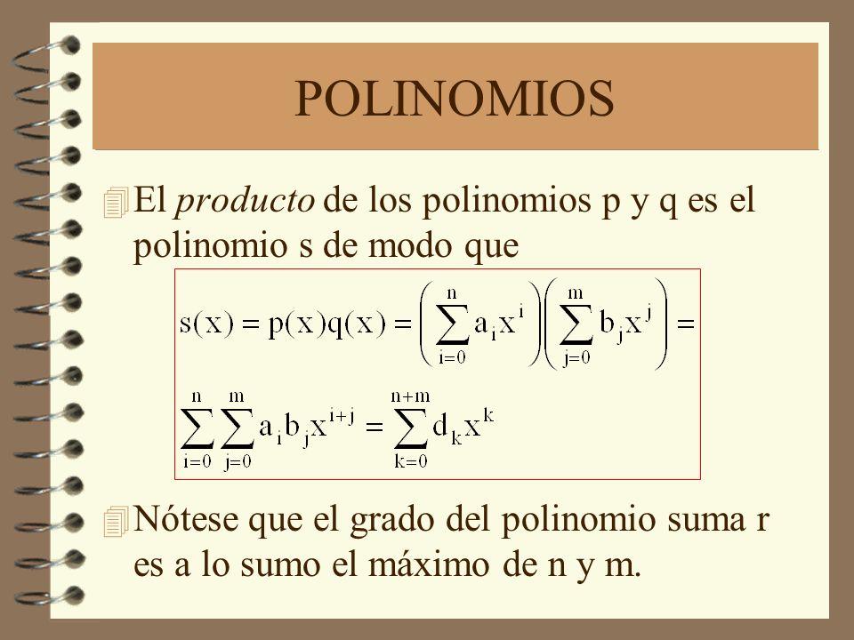 POLINOMIOS 4 El producto de los polinomios p y q es el polinomio s de modo que 4 Nótese que el grado del polinomio suma r es a lo sumo el máximo de n