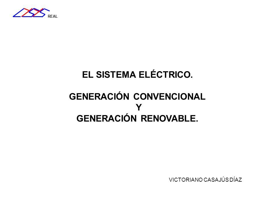 REAL El sistema eléctrico de potencia Imagen: REE Energía primaria Combustible fósil Combustible vegetal o desecho Reacción nuclear Agua Viento Sol (Otros) CO 2
