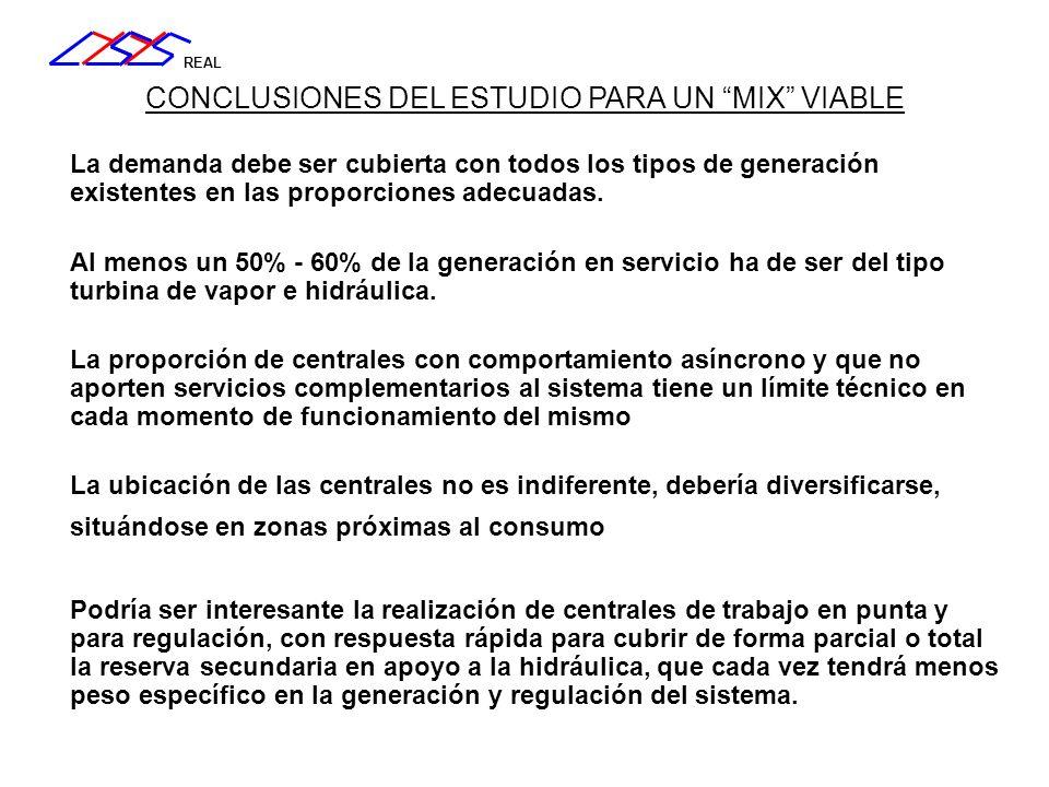 REAL CONCLUSIONES DEL ESTUDIO PARA UN MIX VIABLE La demanda debe ser cubierta con todos los tipos de generación existentes en las proporciones adecuad
