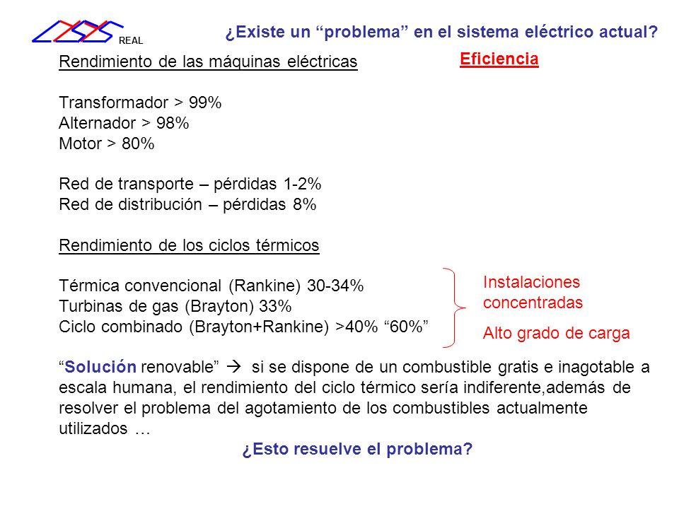 REAL Rendimiento de las máquinas eléctricas Transformador > 99% Alternador > 98% Motor > 80% Red de transporte – pérdidas 1-2% Red de distribución – p