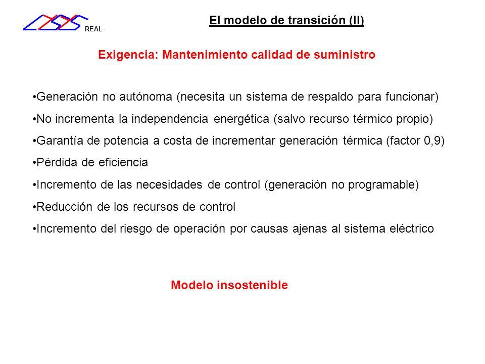 REAL El modelo de transición (II) Incremento de las necesidades de control (generación no programable) Reducción de los recursos de control Incremento