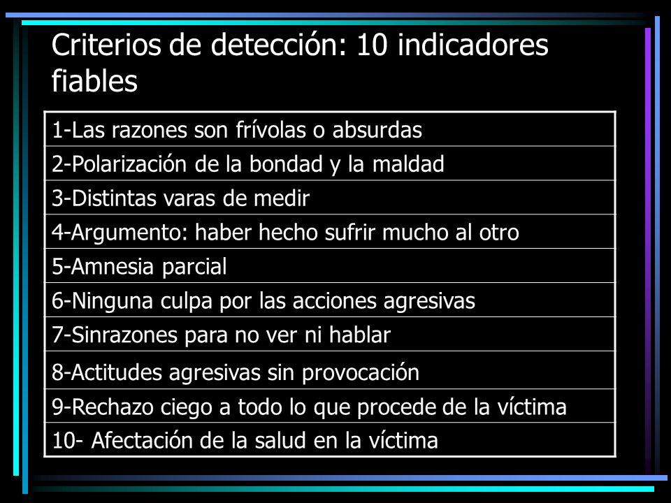 Criterios de detección: 10 indicadores fiables 1-Las razones son frívolas o absurdas 2-Polarización de la bondad y la maldad 3-Distintas varas de medi