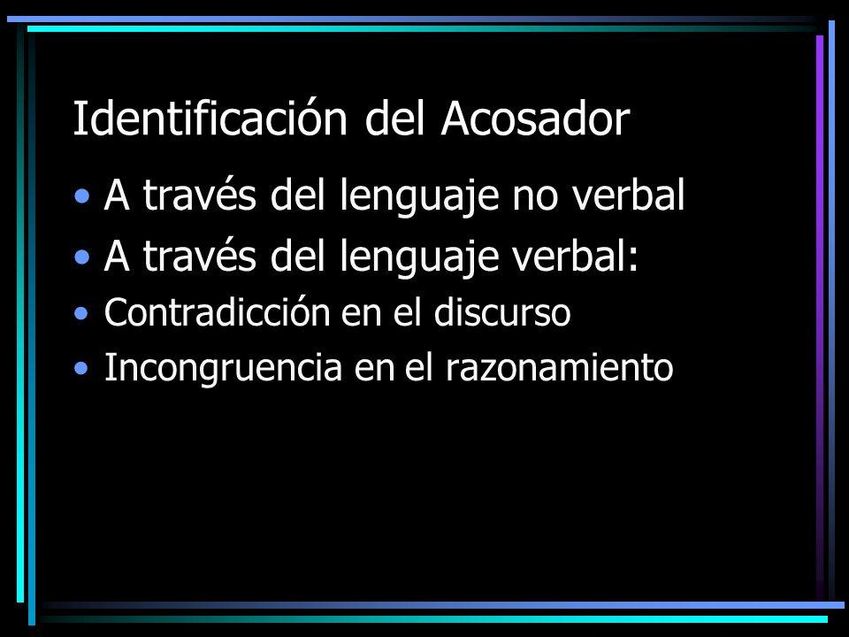 Identificación del Acosador A través del lenguaje no verbal A través del lenguaje verbal: Contradicción en el discurso Incongruencia en el razonamient