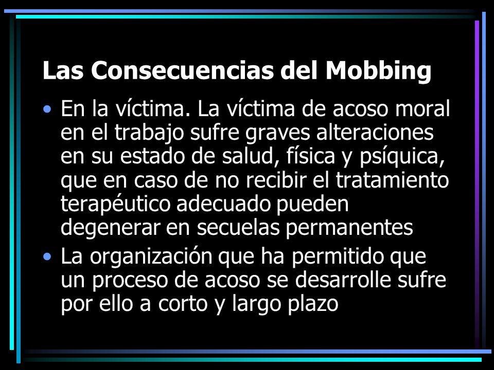 Las Consecuencias del Mobbing En la víctima. La víctima de acoso moral en el trabajo sufre graves alteraciones en su estado de salud, física y psíquic
