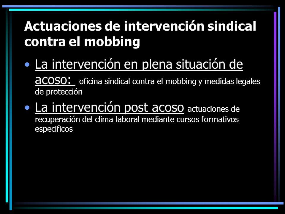 Actuaciones de intervención sindical contra el mobbing La intervención en plena situación de acoso: oficina sindical contra el mobbing y medidas legal