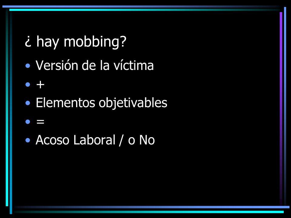 ¿ hay mobbing? Versión de la víctima + Elementos objetivables = Acoso Laboral / o No