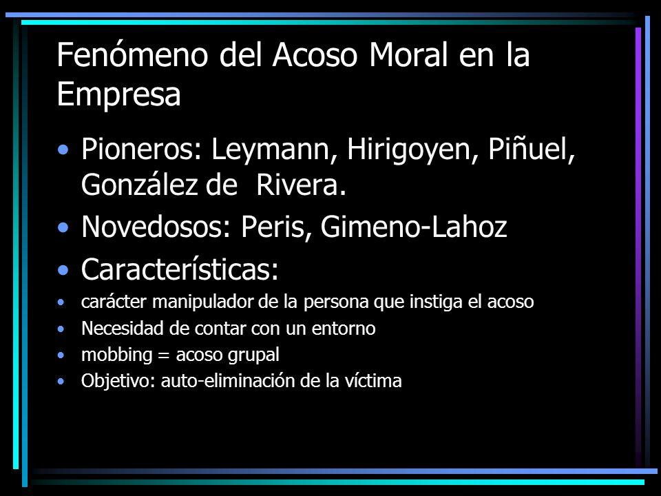 Fenómeno del Acoso Moral en la Empresa Pioneros: Leymann, Hirigoyen, Piñuel, González de Rivera. Novedosos: Peris, Gimeno-Lahoz Características: carác