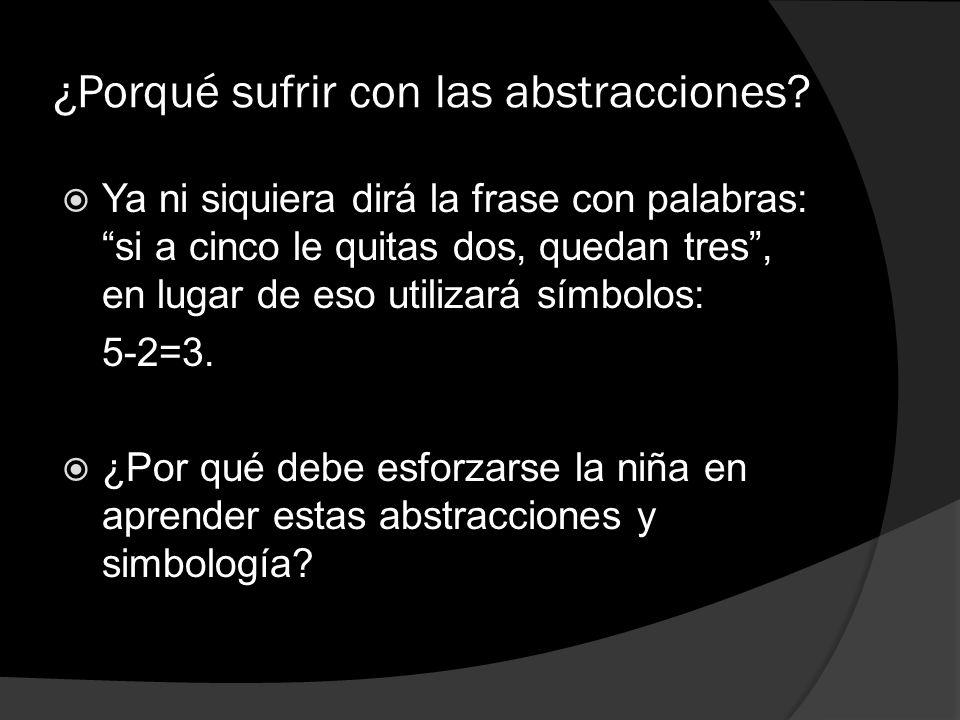 ¿Porqué sufrir con las abstracciones? Ya ni siquiera dirá la frase con palabras: si a cinco le quitas dos, quedan tres, en lugar de eso utilizará símb