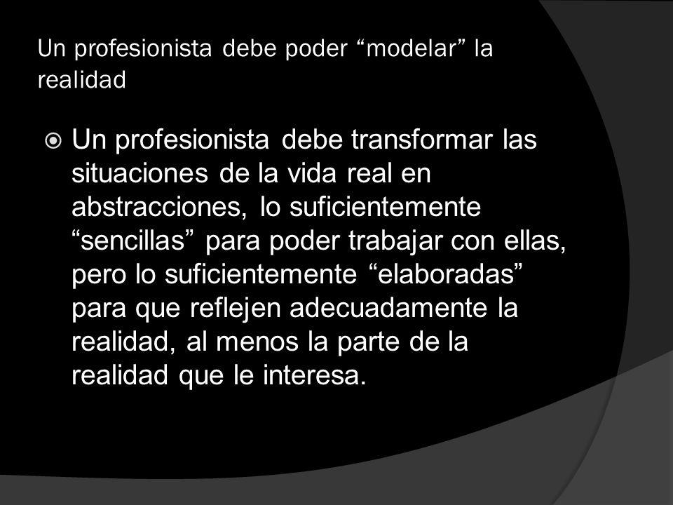 Un profesionista debe poder modelar la realidad Un profesionista debe transformar las situaciones de la vida real en abstracciones, lo suficientemente