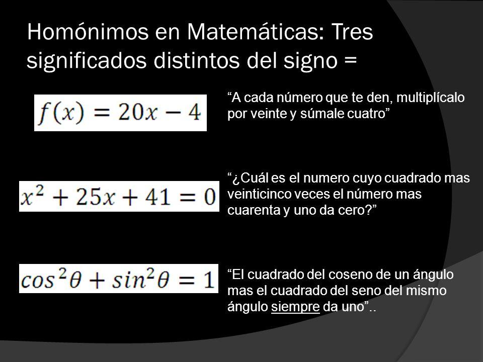 Homónimos en Matemáticas: Tres significados distintos del signo = A cada número que te den, multiplícalo por veinte y súmale cuatro ¿Cuál es el numero