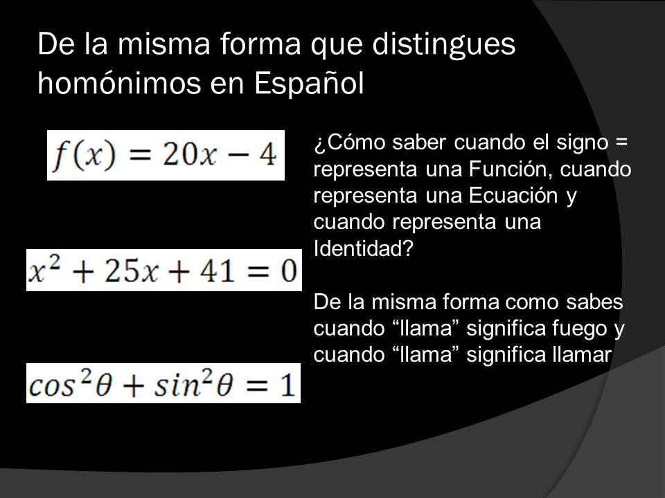 De la misma forma que distingues homónimos en Español ¿Cómo saber cuando el signo = representa una Función, cuando representa una Ecuación y cuando re