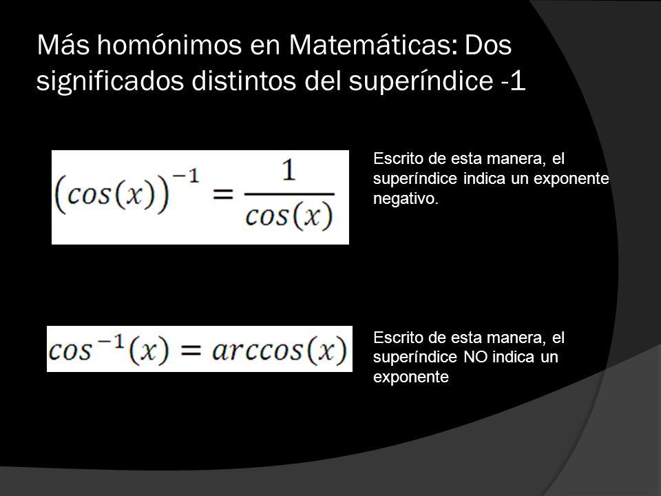 Más homónimos en Matemáticas: Dos significados distintos del superíndice -1 Escrito de esta manera, el superíndice indica un exponente negativo. Escri