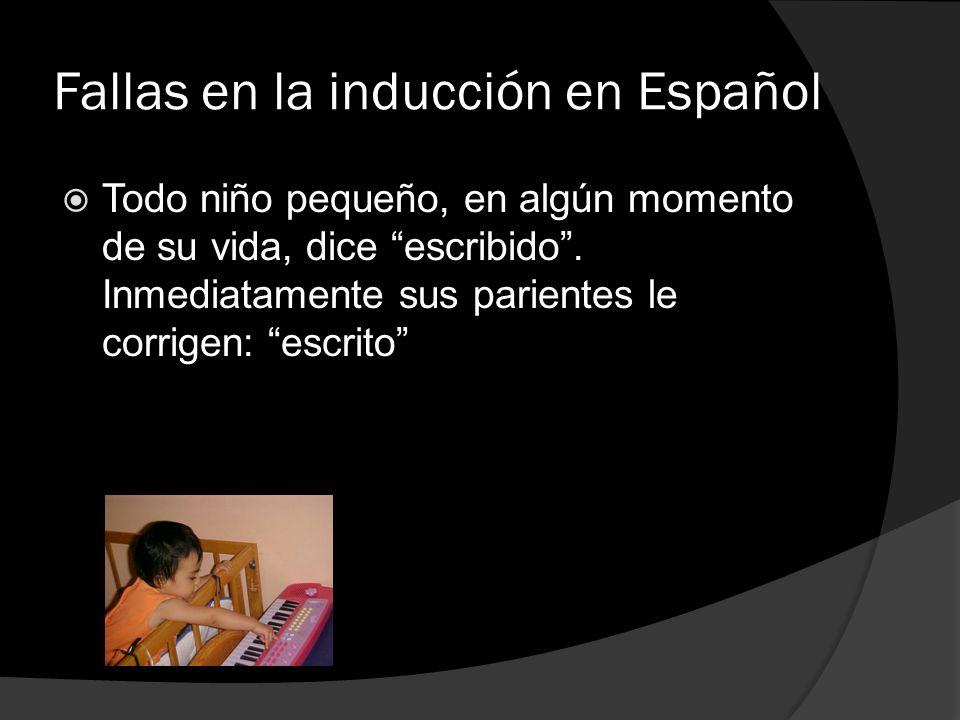 Fallas en la inducción en Español Todo niño pequeño, en algún momento de su vida, dice escribido. Inmediatamente sus parientes le corrigen: escrito