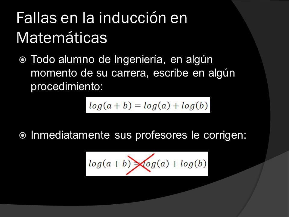 Fallas en la inducción en Matemáticas Todo alumno de Ingeniería, en algún momento de su carrera, escribe en algún procedimiento: Inmediatamente sus pr