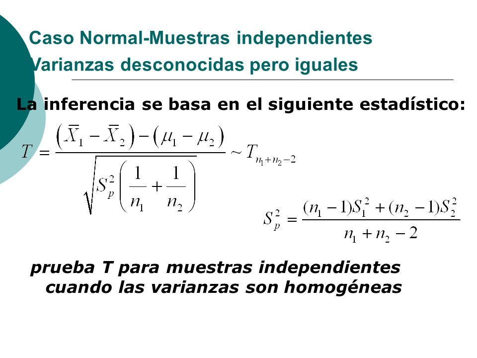 Caso Normal-Muestras independientes La inferencia se basa en el siguiente estadístico: Varianzas desconocidas pero iguales prueba T para muestras inde