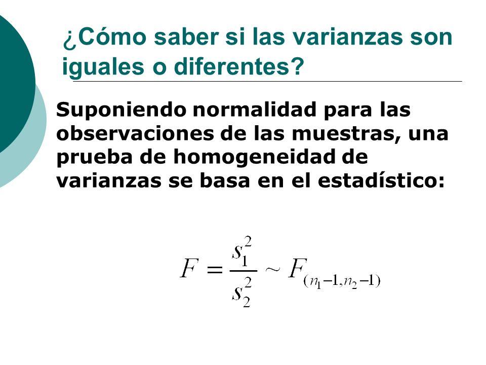 ¿ Cómo saber si las varianzas son iguales o diferentes? Suponiendo normalidad para las observaciones de las muestras, una prueba de homogeneidad de va