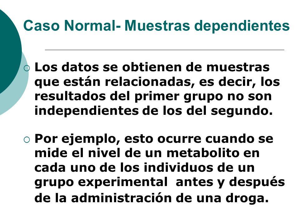 Caso Normal- Muestras dependientes Los datos se obtienen de muestras que están relacionadas, es decir, los resultados del primer grupo no son independ
