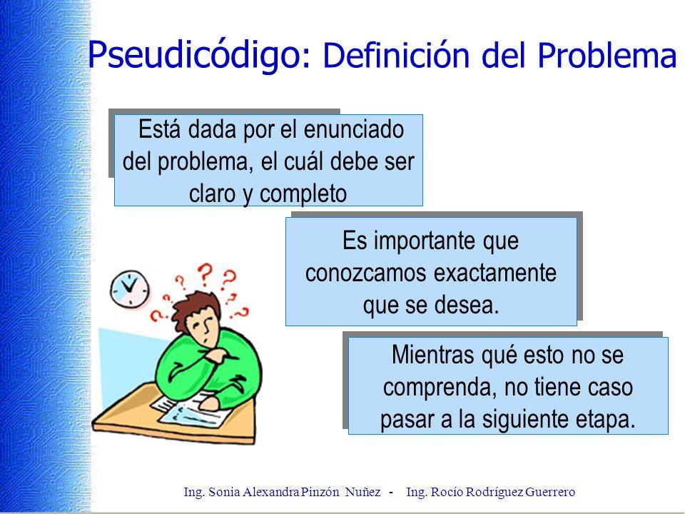 Ing. Sonia Alexandra Pinzón Nuñez - Ing. Rocío Rodríguez Guerrero Pseudicódigo : Definición del Problema Está dada por el enunciado del problema, el c