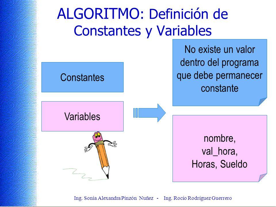 Ing. Sonia Alexandra Pinzón Nuñez - Ing. Rocío Rodríguez Guerrero ALGORITMO : Definición de Constantes y Variables Constantes No existe un valor dentr