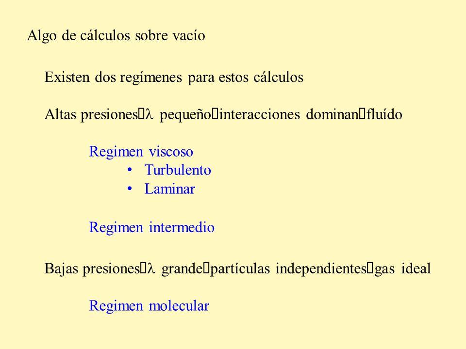 Algo de cálculos sobre vacío Existen dos regímenes para estos cálculos Altas presiones pequeño interacciones dominan fluído Regimen viscoso Turbulento