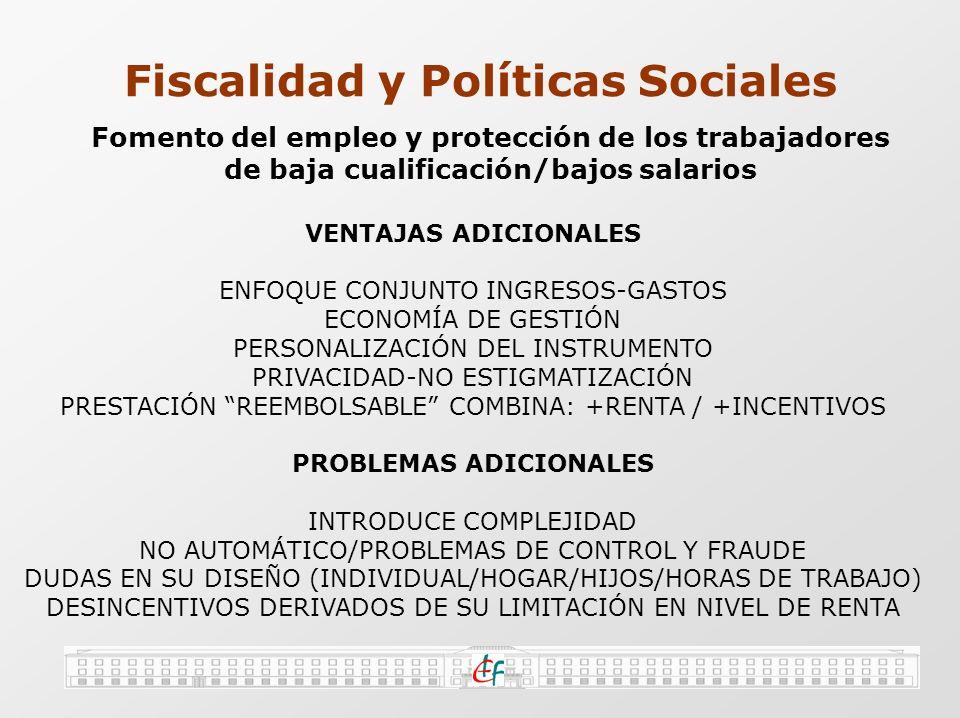 Fiscalidad y Políticas Sociales Fomento del empleo y protección de los trabajadores de baja cualificación/bajos salarios EJEMPLO: EITC