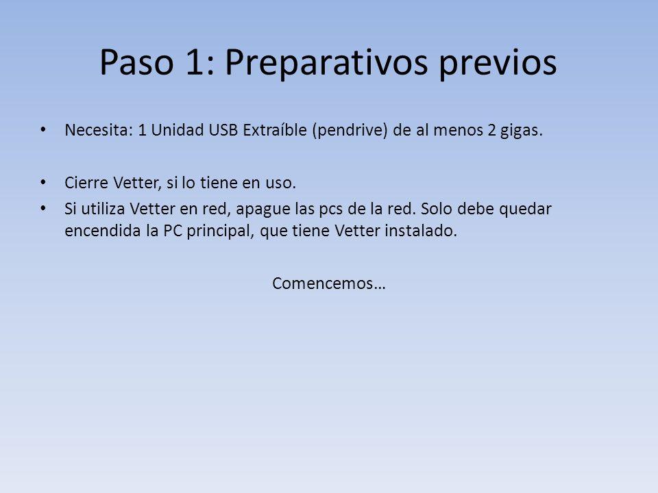 Paso 1: Preparativos previos Necesita: 1 Unidad USB Extraíble (pendrive) de al menos 2 gigas.