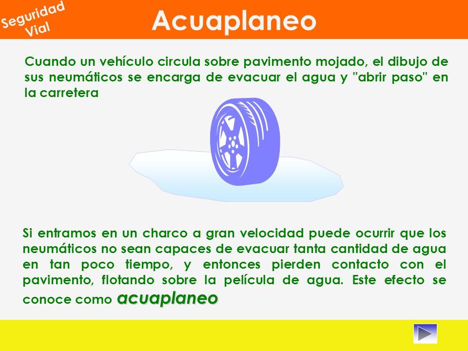 Acuaplaneo Seguridad Vial Cuando un vehículo circula sobre pavimento mojado, el dibujo de sus neumáticos se encarga de evacuar el agua y