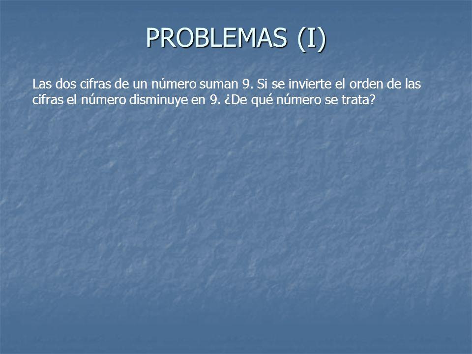 PROBLEMAS (I) Las dos cifras de un número suman 9. Si se invierte el orden de las cifras el número disminuye en 9. ¿De qué número se trata?