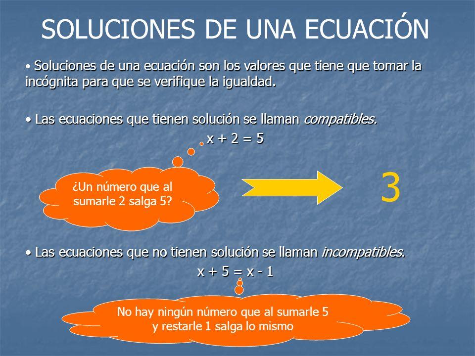 Soluciones de una ecuación son los valores que tiene que tomar la incógnita para que se verifique la igualdad. Las ecuaciones que tienen solución se l
