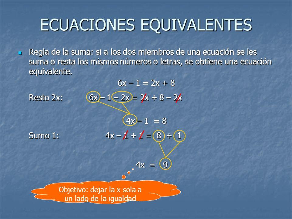 ECUACIONES EQUIVALENTES Regla de la suma: si a los dos miembros de una ecuación se les suma o resta los mismos números o letras, se obtiene una ecuaci