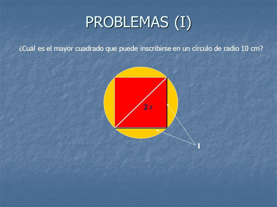 PROBLEMAS (I) ¿Cuál es el mayor cuadrado que puede inscribirse en un círculo de radio 10 cm? 2 r l